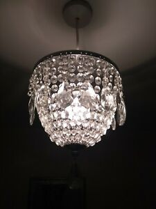 John Lewis Glass Droplets + Chrome Easy To Fit Ceiling Shade
