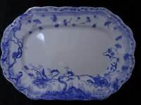 Jugendstil Clementson Atlee Keramik Servierplatte - Vintage um 1900 - 45,5 cm