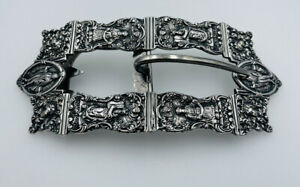 Shreve Crump & Low Antique Sterling Silver Ornate Faces Large Belt Buckle