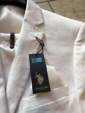 Nuevo con etiquetas U.s. Polo Assn. Calce moderno para hombres 100% Lino  Traje Color Blanco 2BT. Talla 60L e0db1639417