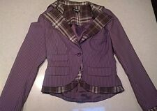 Bebe Brown Pinstripe & Plaid Blazer Office Business Casual Jacket Sz 6