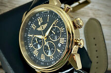 NEW Invicta Men 90242-003 I By Invicta 18k Gold-Plated Black Leather Strap Watch