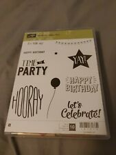 Stampin Up Confetti Celebration Rubber Wood Mount Stamp Set Used
