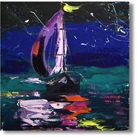 Abstrakte Kunst Moderne Malerei Unikat Schiff Yacht Gemälde Meer Wandbild Nr1036