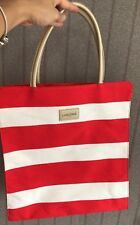 Lancome tote canvas large purse nautical bag summer beach Red White striped
