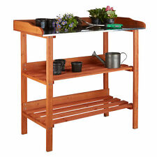 Pflanztisch aus Holz mit Arbeitsplatte aus Metall 3 Ebenen orange Gärtnertisch