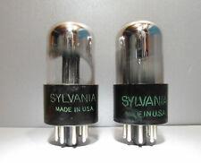 6SN7GTA Sylvania Preamplifier Vacuum Tubes Black Plate Close Tests Lot of 2