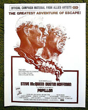 "STEVE McQUEEN  &  DUSTIN HOFFMAN / 1973 uncut 12 page pressbook -- ""PAPILLON"""