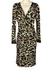 Eva Claudi Animal Print Mesh Dress Body Con Ruched Size XS
