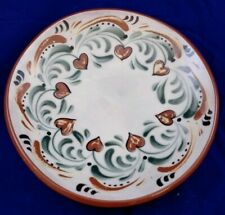 """8"""" Ceramic Floral Hand Painted Plate Edith 2013 Kiln Brown Green"""