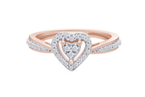 0.13 Ct Round Simulated Diamond 18K Rose Gold Over Promise Engagement Ring