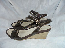 GEOX RESPIRA WOMEN'S BROWN LEATHER BUCKLE STRAP SANDALS SIZE UK 8 EU 41  VGC