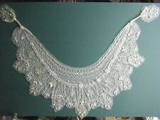 ANTIQUE HANDMADE  BEADED LACE SHAWL/COLLAR