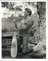 1990 Bruce Weber Nude Male Model Holding Canoe Paddle Art Photo Gravure
