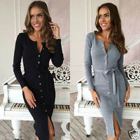 New Women Sexy V neck Bodycon Slim Pencil Cocktail Evening Ladies Party Dress