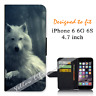 For Apple iPhone 6 6S 4.7inch Wallet Flip Phone Case Cover White Wolf Y00767