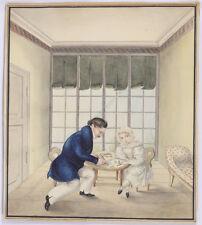 """""""Drawing lesson"""", German watercolor, ca. 1830"""