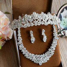 Wedding Bridal Crystal Queen Crown Tiara Headband Necklace Earrings Jewelry Set