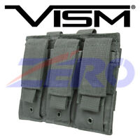VISM Triple Pistol Double Stack Magazine Clip Pouch Holster MOLLE Gear PALS Gray
