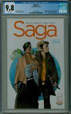 SAGA #1 CGC 9.8 NM/MT mint white pages Vaughan Staples Image comics 2124525009