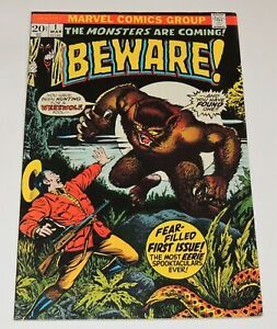 Marvel Comics BEWARE! #1  Monster Cover!  in Solid High Grade VF/VF+