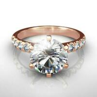 COLORLESS 1.5 CARATS ROUND DIAMOND RING ESTATE AWESOME 14 KARAT ROSE GOLD RED