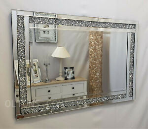 Crushed Diamond Crystal Jewel Glass Silver Frame Bevelled Wall Mirror 100x70cm