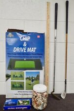 lot of vintage Golf Accessories T's Chip & Drive Mat Ball Monogrammer Clubs