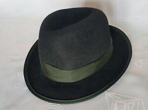 AUSTRIA VINTAGE AUTHENTIC ULLMANN HUTE BLACK MEN'S FEDORA HAT:US 6 3/4;EU 54
