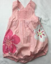 Girl's GYMBOREE HIBISCUS FLORAL One Piece Bubble CORAL PINK BLUE Smocked 3-6 mos
