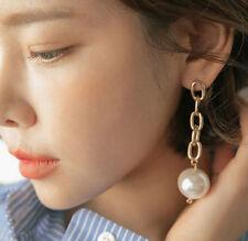 14K Gold Plated Pearl Dangle Drop Fashion Earrings 065