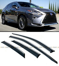 2016-17 LEXUS RX350 RX450H VIP CLIP-ON SMOKE TINTED WINDOW VISOR W/ CHROME TRIM