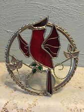 Stained Glass Red Cardinal Tabletop Decor