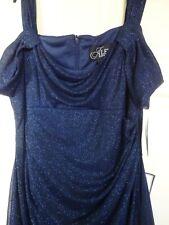 BNWT Alex Evenings Prom Dress Navy Blue Sparkle Cold Shoulder Size 16