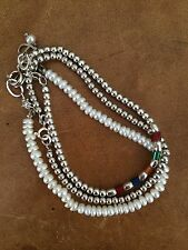 Three Delicate Sterling Silver Beaded Bracelets, Multi Color, White Pearl.