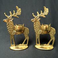 Dept.56 Brass Reindeer Christmas Candle Sticks