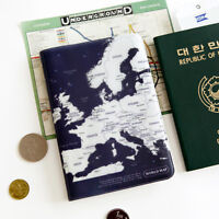 Indigo Blue World Map Passport Holder Cover Travel Wallet Card Case Organizer