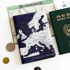 Indigo Blue World Map Passport Holder Cover Travel Wallet Card Case Organizer
