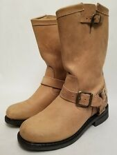Harley Davidson Motorcycles 85137 Tan Leather Moto Buckle Harness Boots Size 7