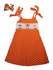 Girl Orange White Polka Dot Beach Smocked Dress Jumper Matching Bow Size 5/6
