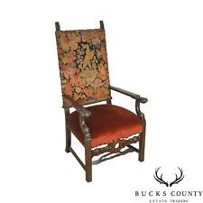 Renaissance Revival Antique Carved Walnut Needlepoint Throne Chair