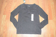 NWT Womens EDDIE BAUER Brown Long Sleeve Henley Lace Shirt Size S Small