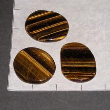"FLAT STONES Tigereye Golden 1 3/4+"" long 3 pk bulk stones Palm Tiger Eye"
