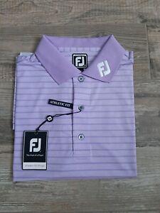 NEW FootJoy Mens Lisle Tonal Heather Stripe Golf Polo Large Lavender 25520