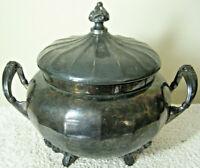 Antique 1890s Victorian ADELPHI Silver Plate Co. Soup Tureen Quadruple SP NY # 8