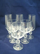 "Import Assoc. Crystal CLAUDIA 3-5 3/4"" Wine Glasses 3 Champagne Flutes Bohemian"