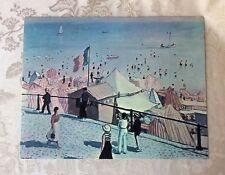 """Vtg Albert Marquet The Beach At Fecamp Litho Print On Board 11"""" X 14"""" Picture"""