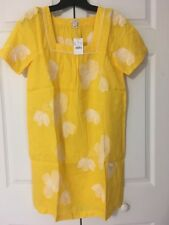 NWT J Crew Embroidered Floral Shift Dress $90 Size XS Warm Sun Yellow White 24