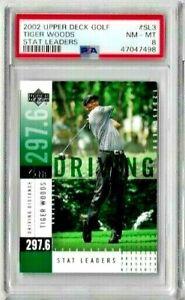 2002 Upper Deck Golf Tiger Woods Stat Leaders PSA 8