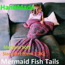 Mermaid Fish Tails Fleece Blankets *Handmade* RED 80x180cm 1.3Kg Good Quality